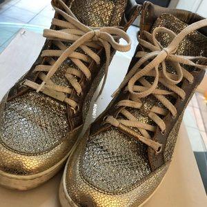 Jimmy Choo metallic gold size 6 sneakers